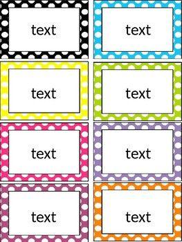 Editable Polka Dot Labels Tags Task Cards Etc Printable Tags Template Printable Label Templates Name Tag Templates