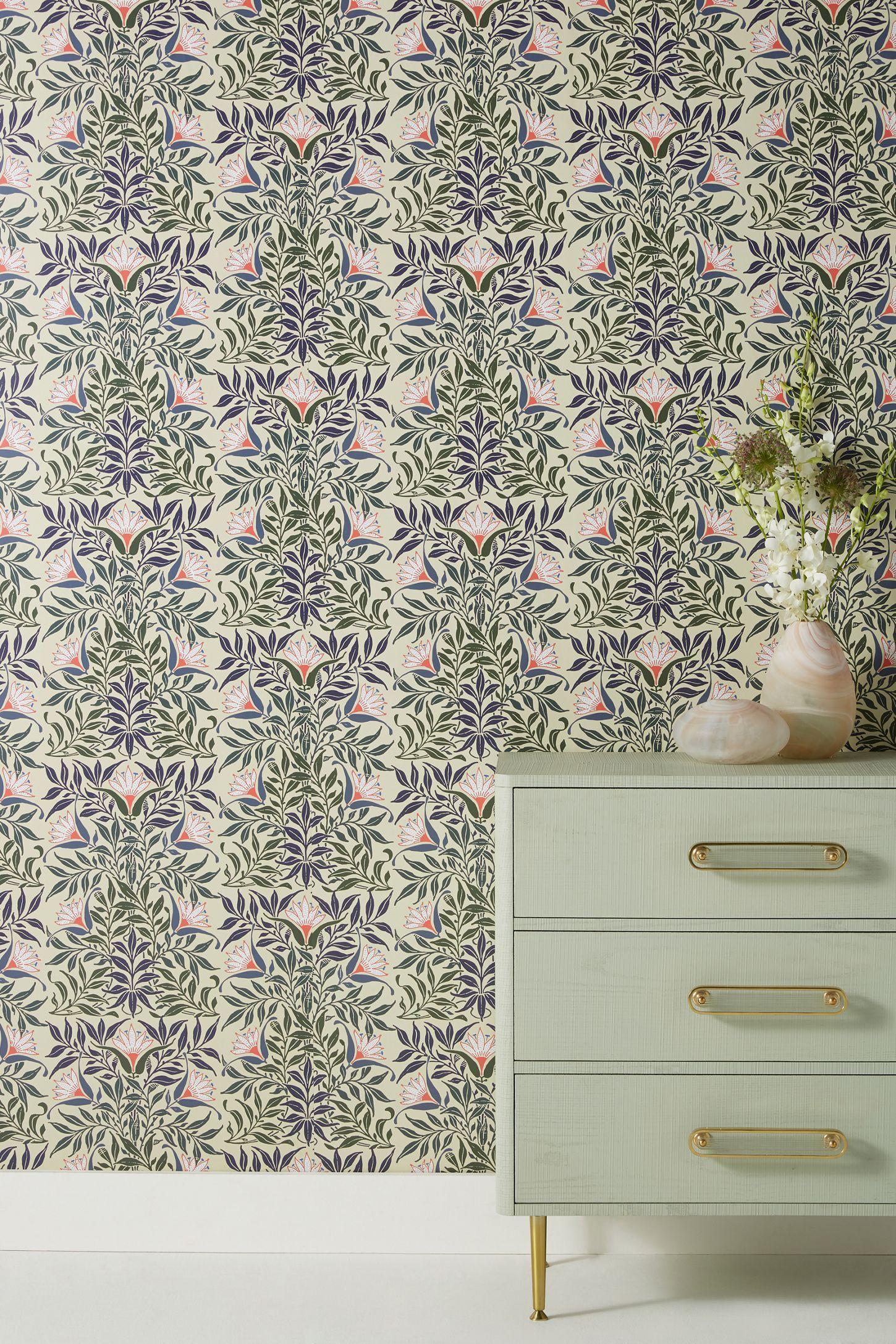 Flower Vine Wallpaper by Mitchell Black in Green, Wall