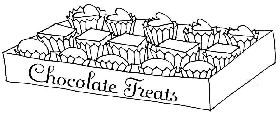 chocolate coloring pages A Box Of Chocolate Heart Coloring Page | Chocolate | Coloring  chocolate coloring pages