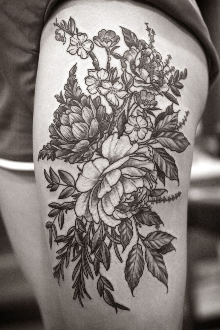 Coolest Black Floral And Flower Tattoo Design On Thigh Tattoos