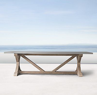 Rh S Belgian Trestle Weathered Concrete Teak Rectangular Dining Table Smoothly Honed 1½ Thick With A Softly Finish Complements