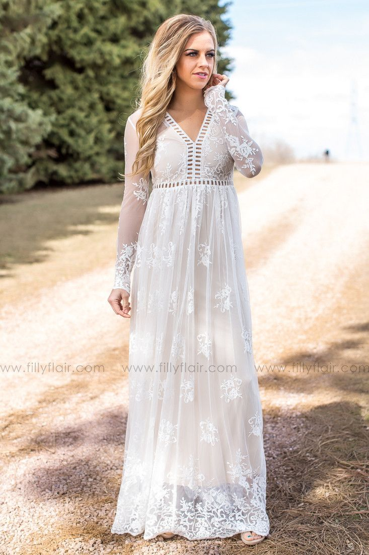 86328dfdaa Beautiful ivory lace maxi dress! Wear this dress to a wedding or as a  rehearsal dinner dress.