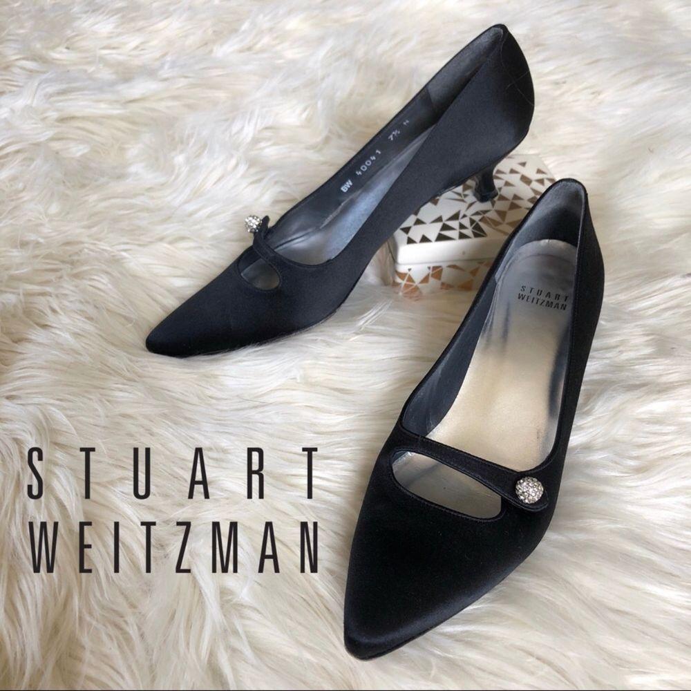 Stuart Weitzman Point Toe Kitten Heel Pumps Satin Bejeweled Ball Detail 7 5 Fashion Clothing Shoes Accessories W Kitten Heel Shoes Heels Kitten Heel Pumps