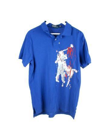 Polo Ralph Lauren azul de manga corta con dibujo de la marca en grande. 523d5b508b7