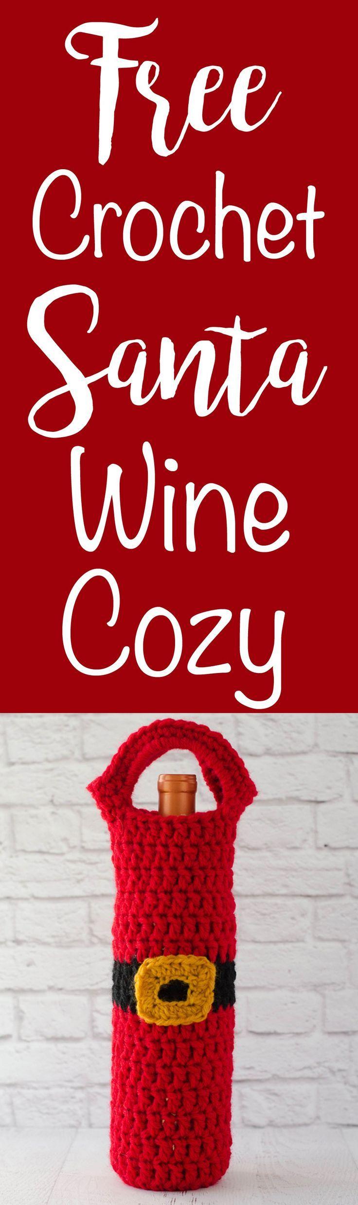 Santa Wine Cozy Crochet 365 Knit Too Crochet Santa Crochet Xmas Crochet
