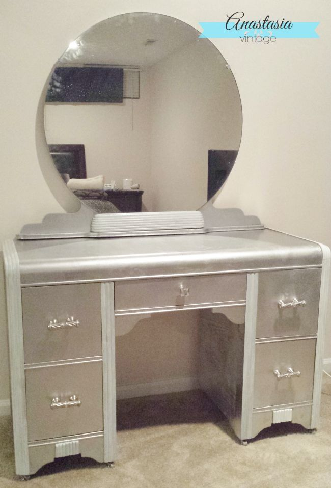 Faux Silver Leaf Art Deco Vanity With Rustoleum Metallic Spray Paint Beautiful Diy Furniture
