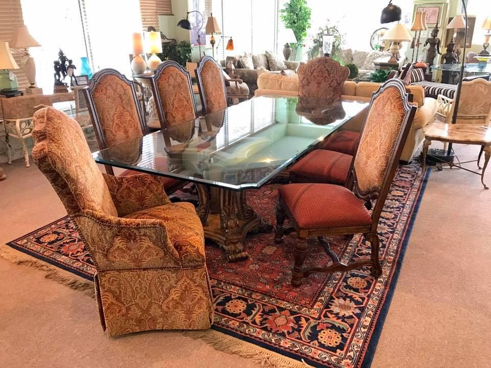 Ferguson Copeland Dual Pedestal Dining Table Set Table W Glass
