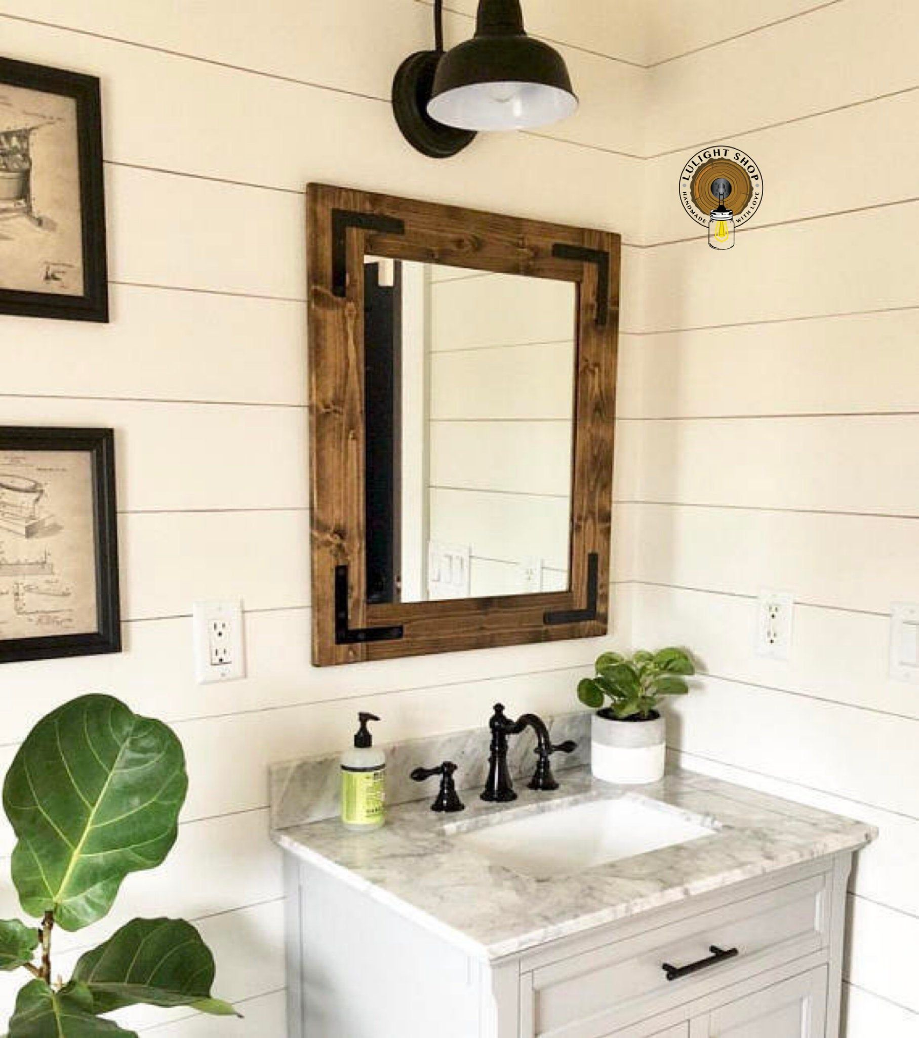 Dark walnut mirror farmhouse mirror country framed mirror