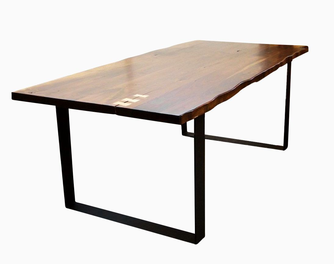Custom Made Live Edge Walnut Dining Table With Flat Iron Legs ...