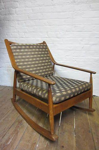 Vtg Retro 50s 60s Rocking Chair Danish Style Armchair Chair Mid Century  Modern