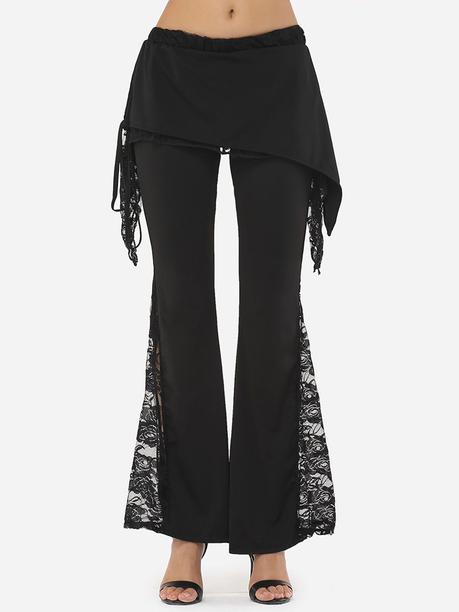Hollow Out Lace Patchwork Plain Designed Casual-pants Only $21.95 USD More info...