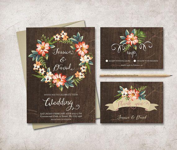 Digital Wedding Invitation Ideas: Rustic Fall Wedding Invitation, Floral Wedding Invite Set
