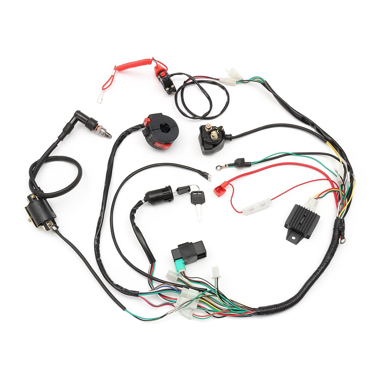 876c6a8072d74d2cd632995c90552f62 wiring harness loom solenoid coil rectifier cdi 50cc 70cc 110cc  at gsmx.co