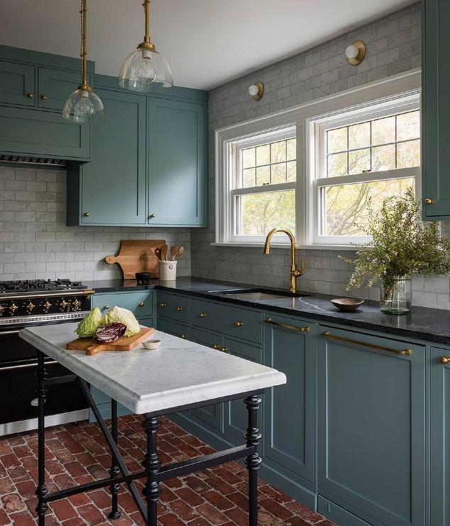 Black Marble Countertops On Blue Green Kitchen Cabinet Colors Kitchen Interior Kitchen Design
