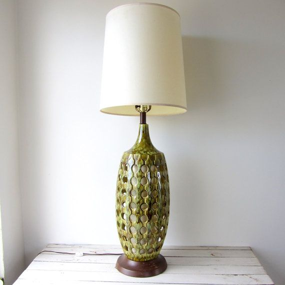 Vintage large mid century modern ceramic lamp shade not included