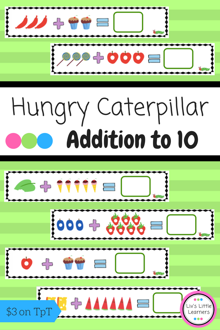 Caterpillar Addition Cards to 10 | Number formation, Printable ...