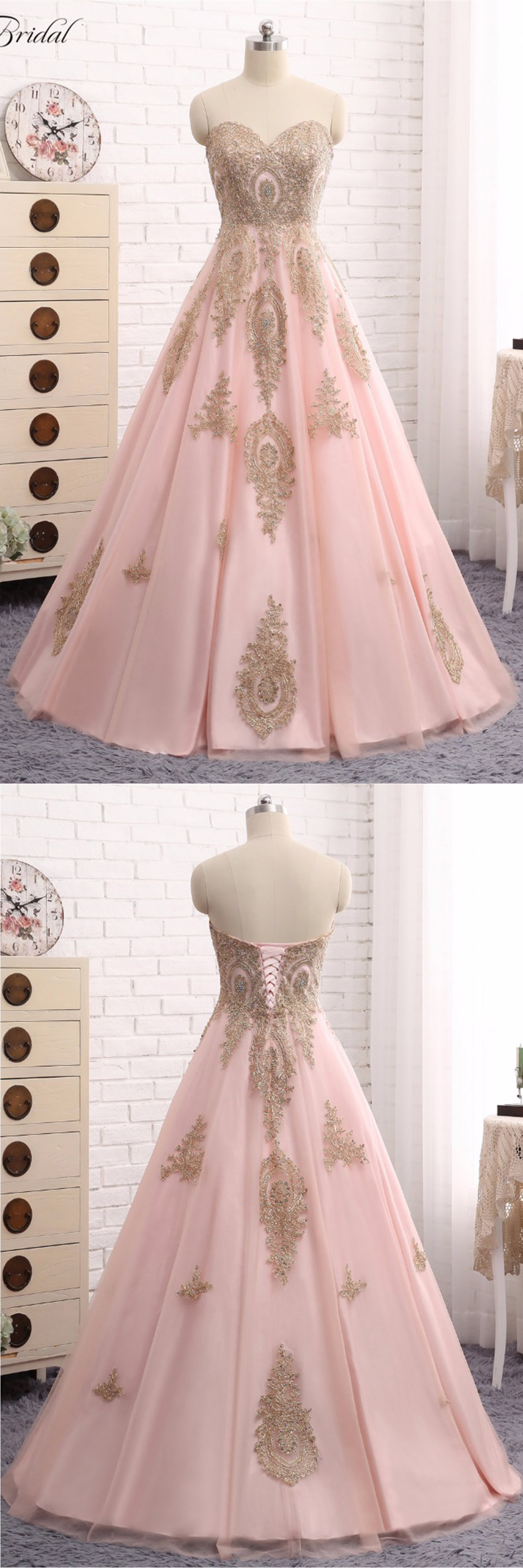 Pink tulle sweetheart neckline long gold lace strapless evening ...