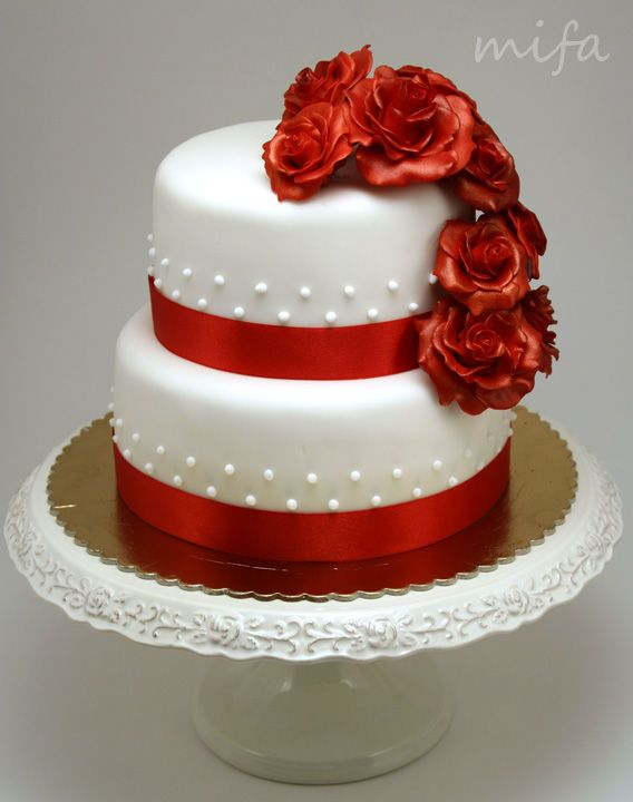 Two Tier Cake With Red Roses 40th Wedding Anniversary Cake