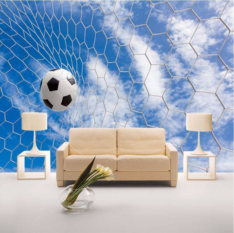 Sports Wall Murals 3d wallpaper soccer ball net sports wall mural | 3d wallpaper