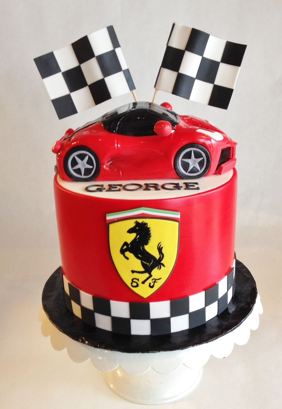 Birthday Cake Ferrari Custom Topper Fondant Checkered