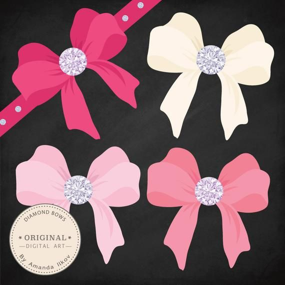 Diamond large. Pink bows clipart vectors