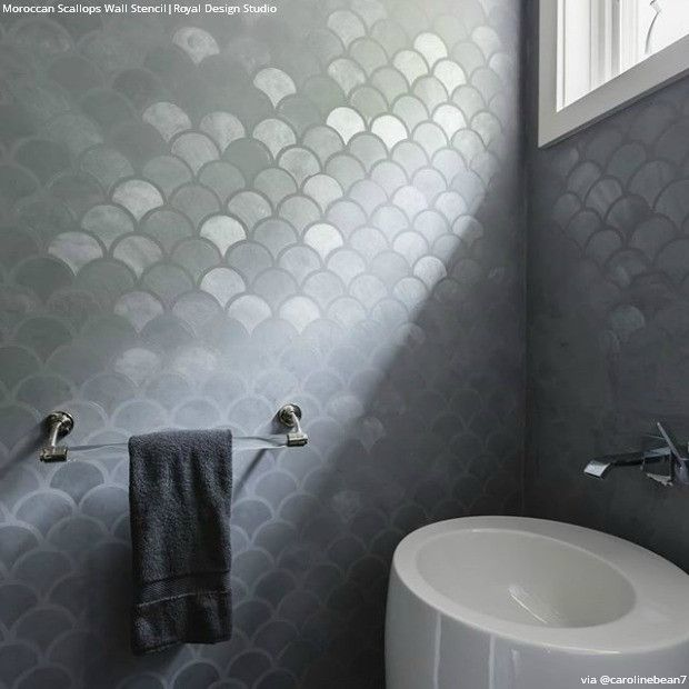Metallic Silver Accent Wall Stencils For Painting Chic Design   Moroccan  Scallops Wall Stencils   Royal