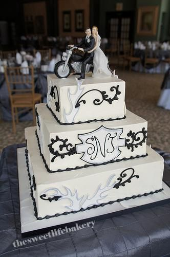 black and white harley wedding cake | harley davidson, wedding