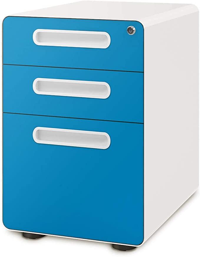 Amazon Com Devaise 3 Drawer Mobile File Cabinet With Anti Tilt Mechanism Legal Letter Size Green Office P Filing Cabinet Mobile File Cabinet Legal Letter