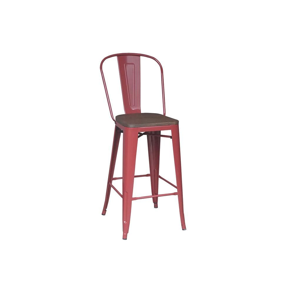 Stylewell Finwick Chili Red Metal Bar Stool With Back And Wood