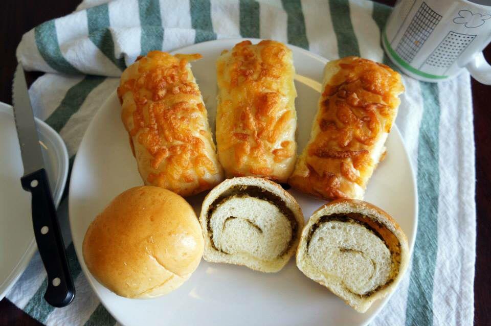 Bacon and Cheese Bun and Pesto Roll...