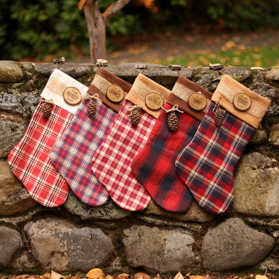 Rustic Christmas Stocking Personalized Wood Slice Name Tag Redwood ...