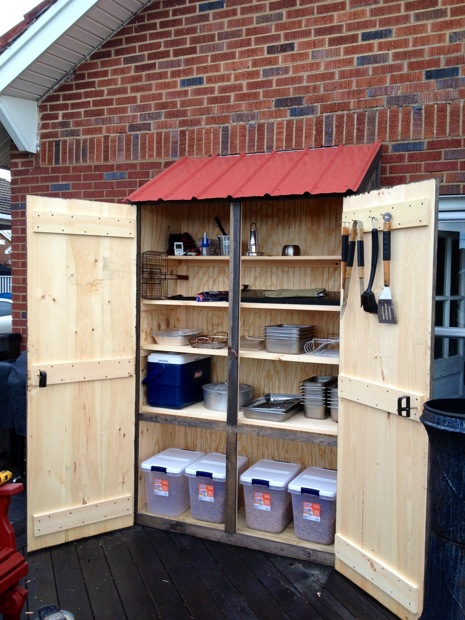 Outdoor cabinet for grilling supplies   Outdoor Kitchen