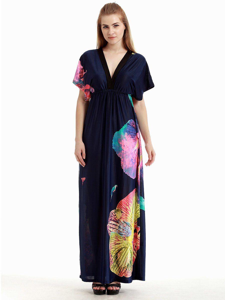 Adorewe justfashionnow beach dresses designer mosha dark blue v