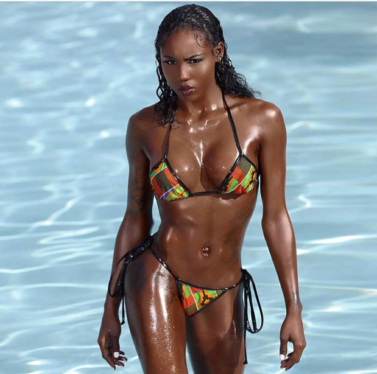 bikini in brown Ebony babe