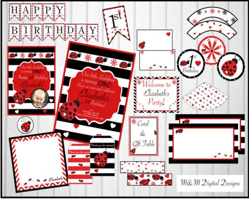 Red and Black Ladybug Theme Invitation and Party Packages