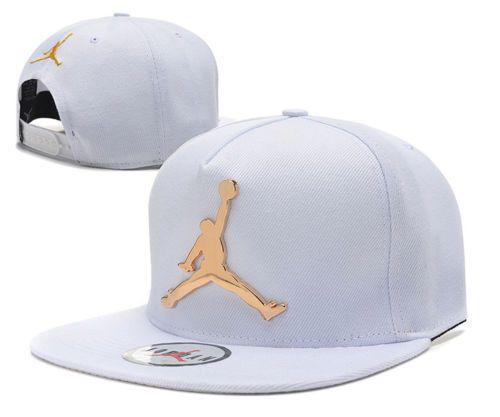 262a0c7e1d9 Brand New 2015 Jordan Snapback White with Metal Gold Logo and Gold  Stitching #Jordan