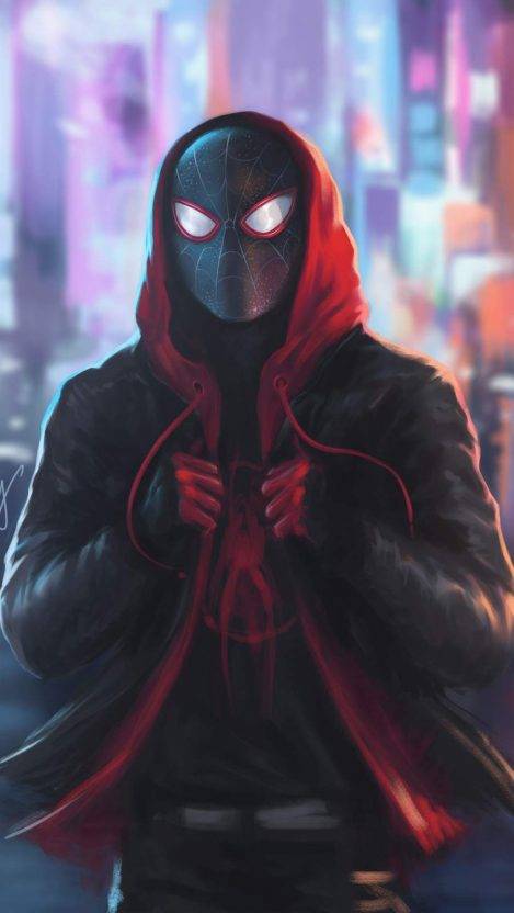 Miles Morales Spiderman in Hoodie iPhone Wallpaper Miles