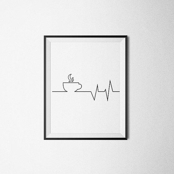 But First Coffee Heartbeat Print Coffee Print Inspiration Art