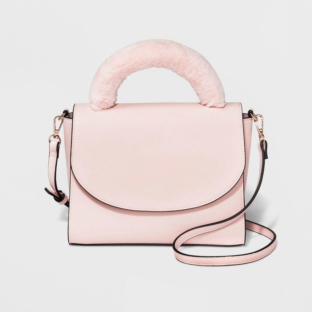 e1fd9856ab324 Faux Fur Top Handle Satchel Handbag - A New Day Nouveau Pink ...
