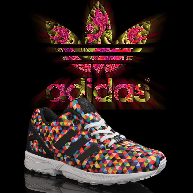 Adidas Originals ZX Flux Rainbow Limited edition Red Black - Click Image to  Close
