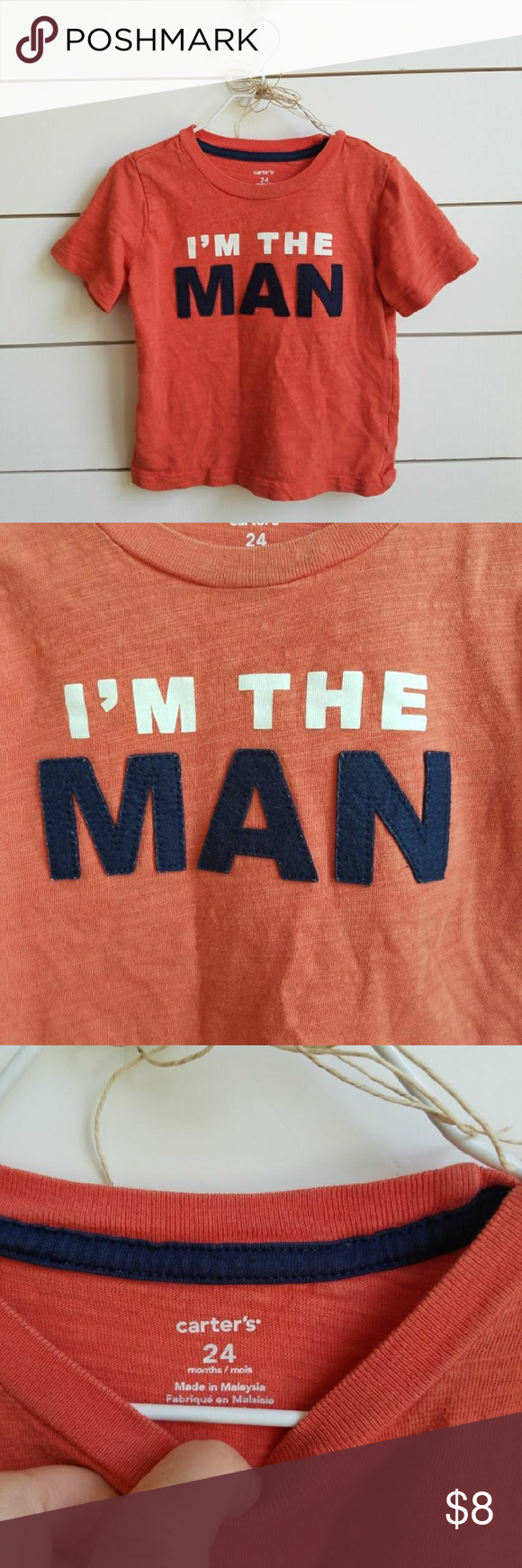 """ I'm the man"" T-shirt 24M Carter's orange T-shirt with words that say ""I'm the man"" Shirts & Tops Tees - Short Sleeve"