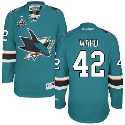 Men's San Jose Sharks #42 Joel Ward Teal Blue 2016 Stanley Cup Home NHL  Finals