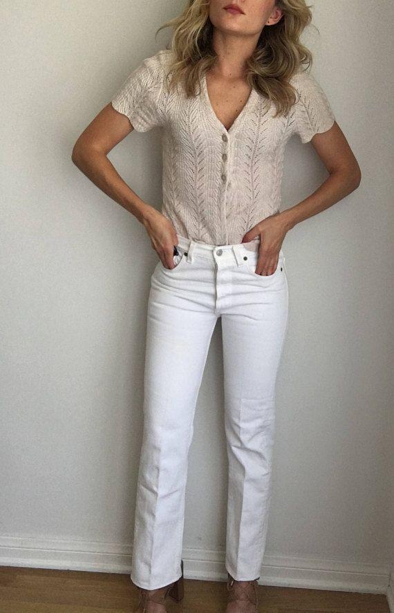 7dd58892888 Vintage White Levi's 501 Jeans, Women's 25 26 Waist High Waisted ...