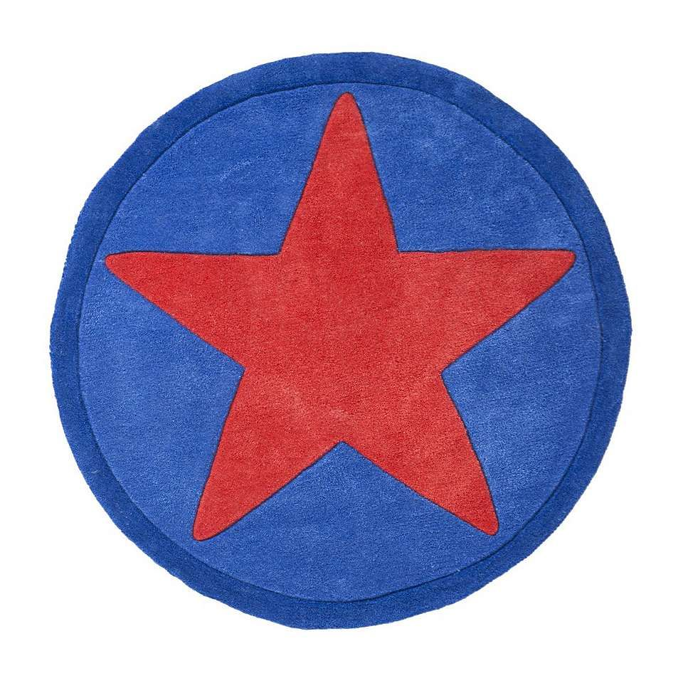 Kids Red Star Round Rug Rugs