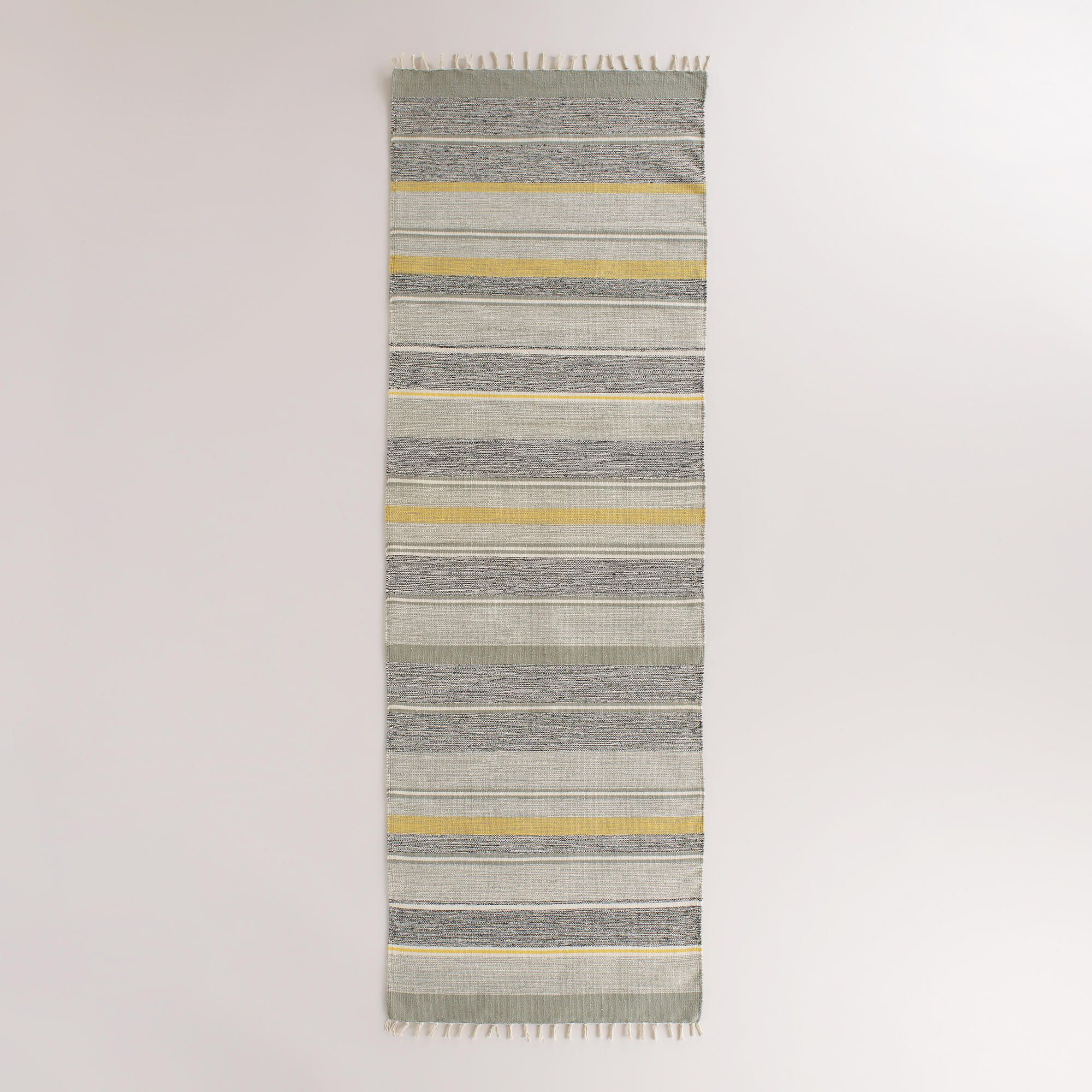 2 5 X8 Yellow And Gray Striped Dhurrie Floor Runner World Market For Entrance Floor Runners Rugs Rug World