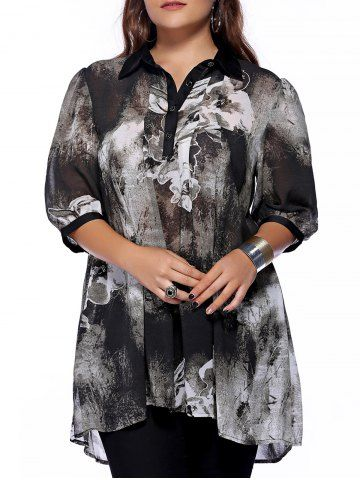 23864da6e4f Plus Size Brief Ink Painting Buttoned Blouse