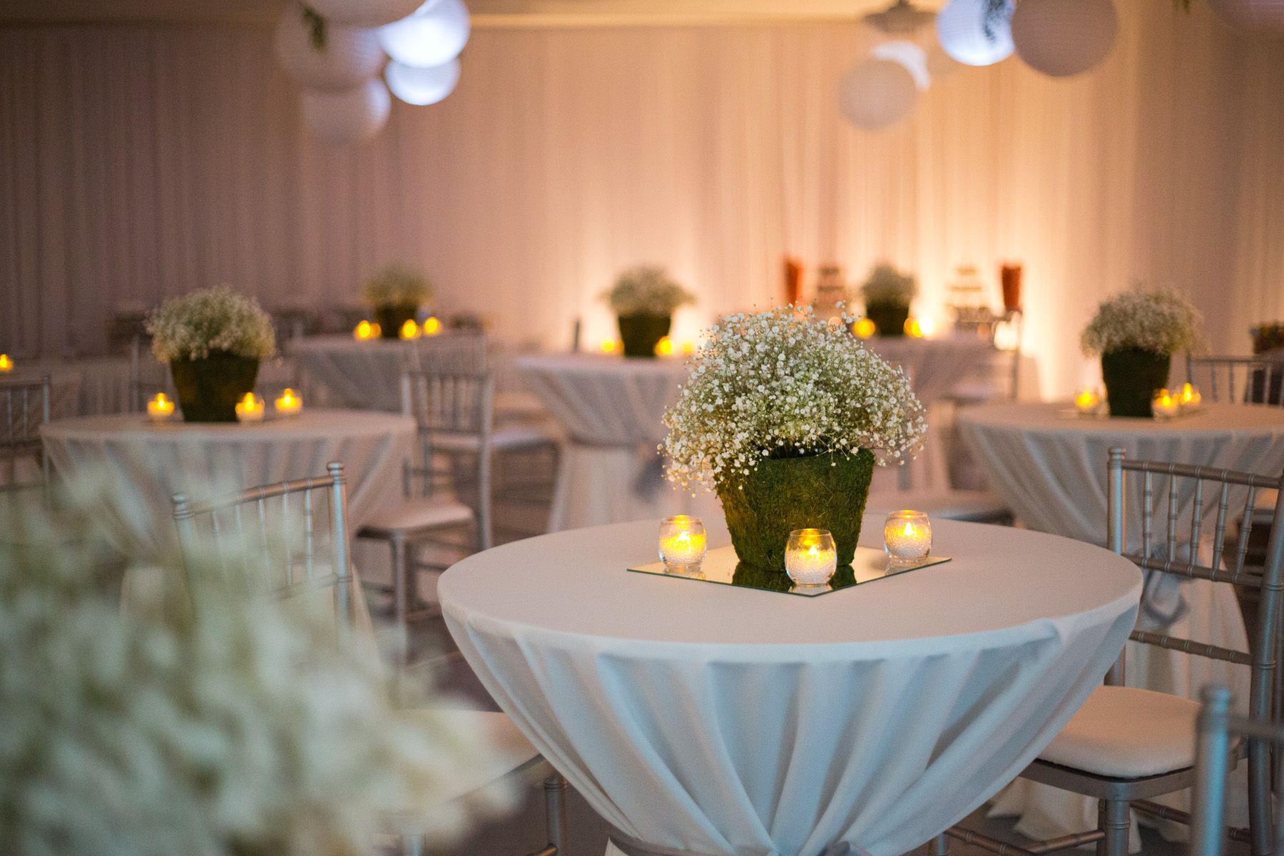 Babys Breath And Moss Centerpiece