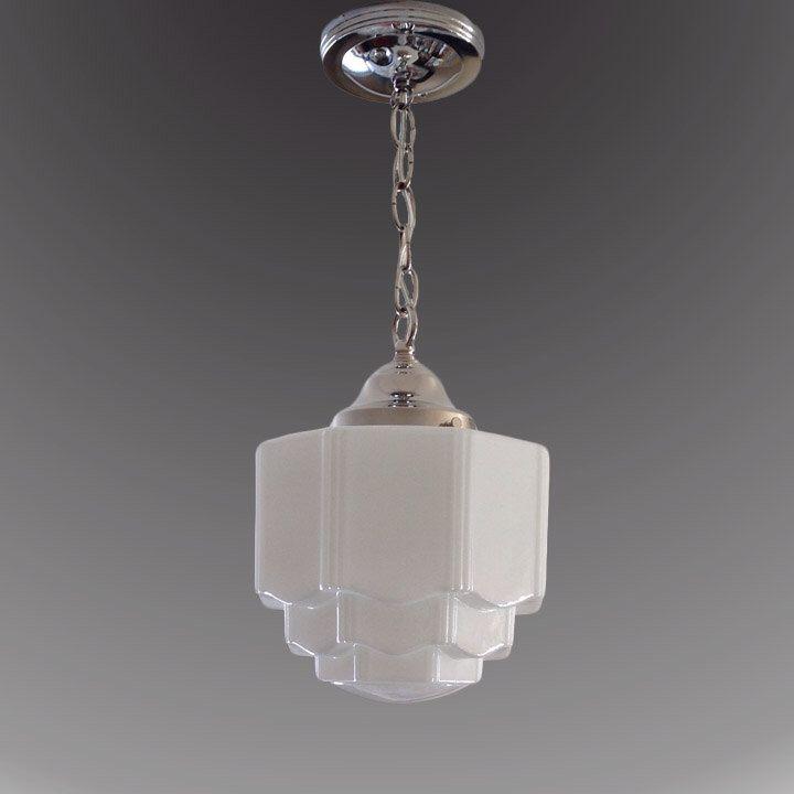 1920s 1930s milk glass skyscraper shade vintage art deco antique chandelier ceiling light fixture nickel chrome restored rewired