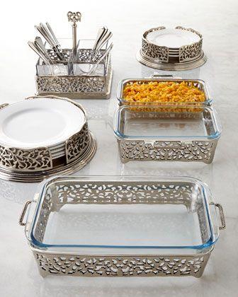 Godinger Pierced Two-Quart Double Baker Pierced Three-Quart Baker Pierced Dinner Plate Holder & Pierced Flatware Caddy | Serveware Flatware and Dinnerware