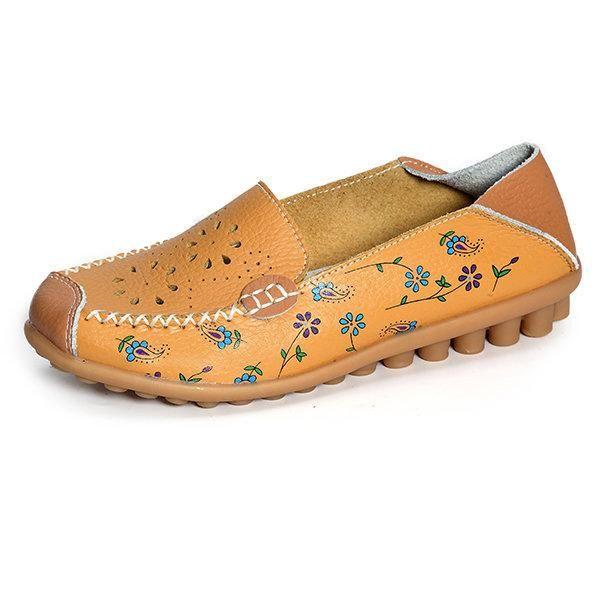 Cuir Évider Slip De Couleur Pure Semelle Souple Respirant Sur Les Chaussures Plates PLUk2IHw